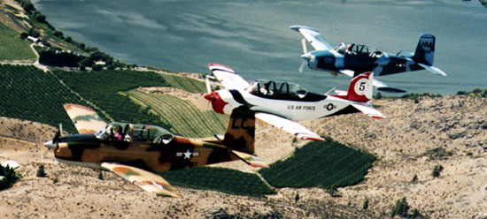 T-34 Chickletts Flying Formation