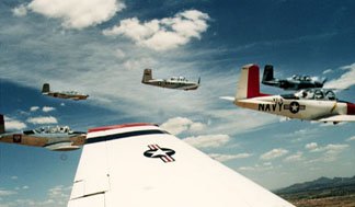 T-34 Skychick Flying Formation View 3