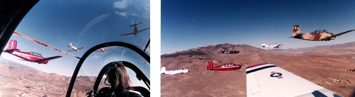 T-34 Skychick Flying Formation View